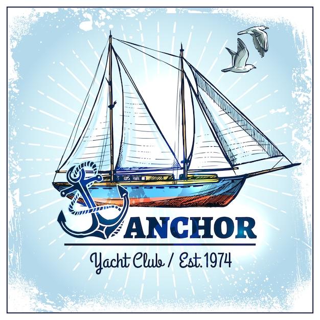 Cartaz do navio da vela Vetor grátis