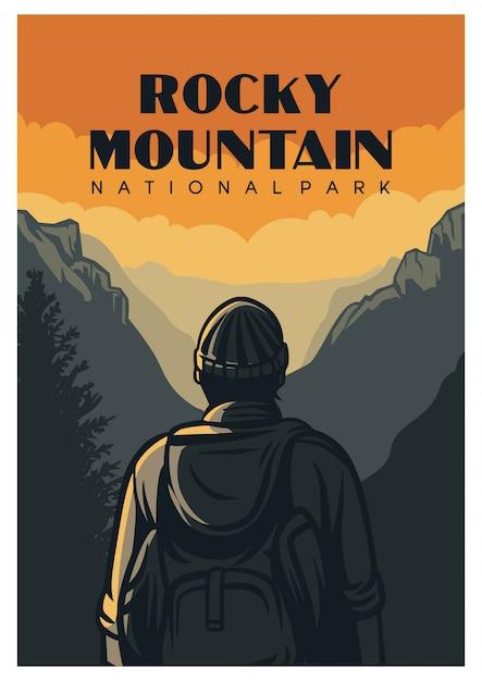 Cartaz do parque nacional das montanhas rochosas Vetor Premium