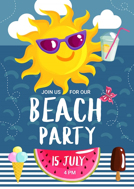 Cartaz do partido da praia do verão Vetor grátis