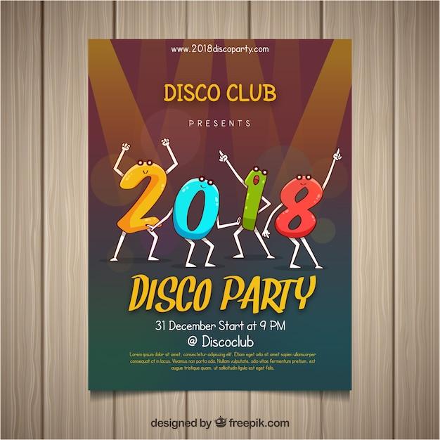 Cartaz do partido de ano novo com dígitos de dança Vetor grátis