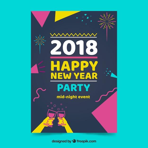 Cartaz do partido de ano novo em estilo memphis Vetor grátis