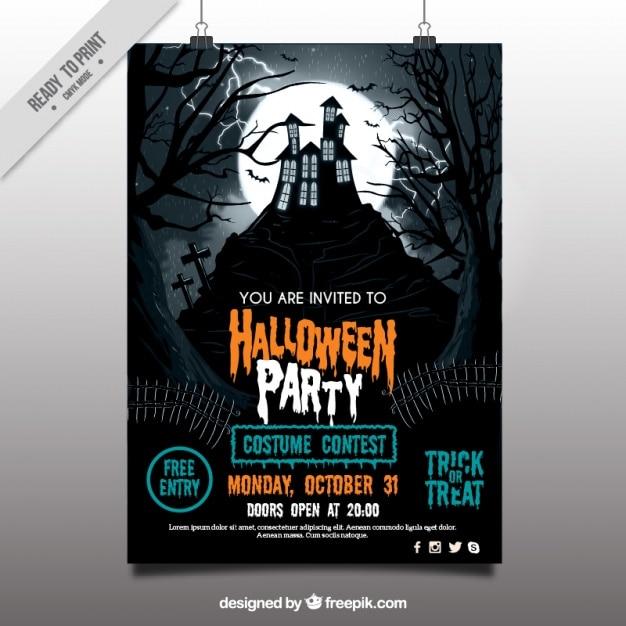 Cartaz do partido de halloween com casa assombrada Vetor grátis
