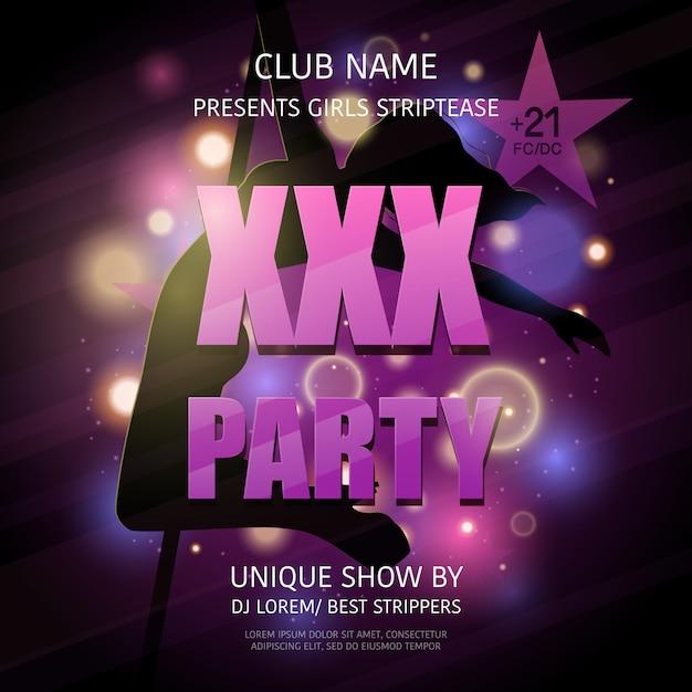 Cartaz do partido do clube de strip-tease Vetor grátis