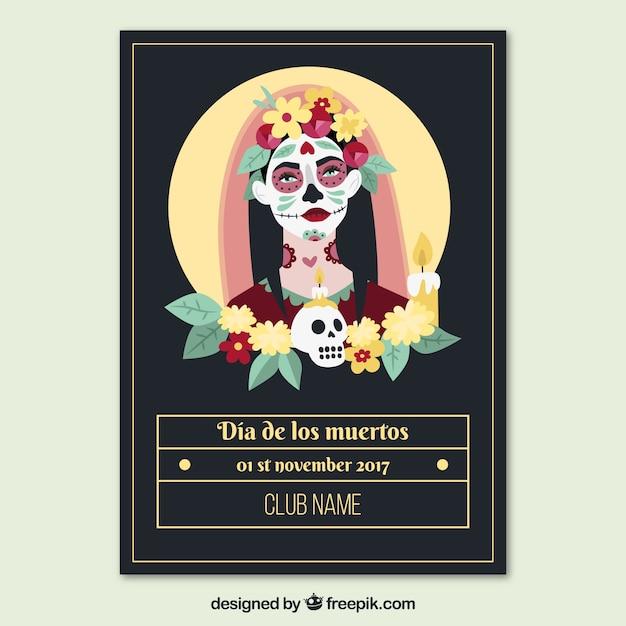 Cartaz do partido mexicano com noiva morta Vetor grátis