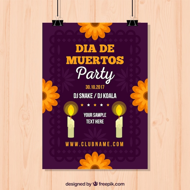Cartaz do partido mexicano com velas e flores Vetor grátis