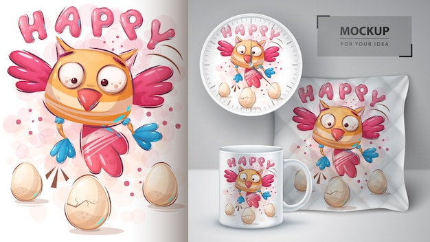 Cartaz do pássaro feliz e merchandising Vetor Premium