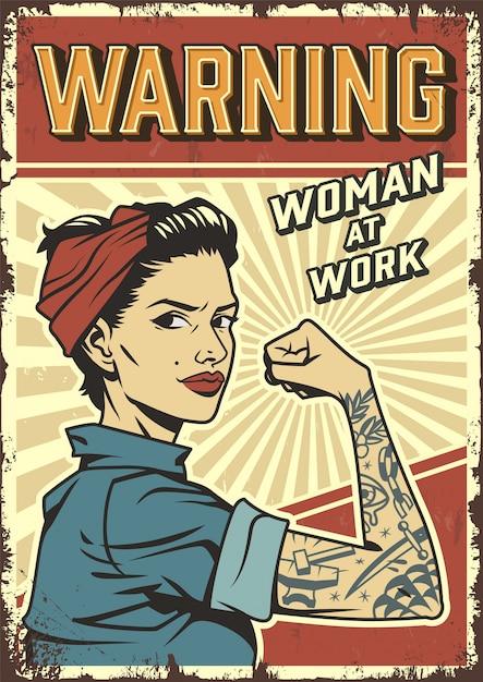 Cartaz do poder da mulher vintage Vetor grátis
