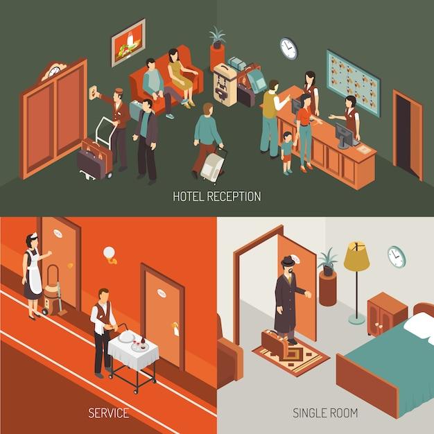 Cartaz do projeto isométrico do conceito do hotel Vetor grátis