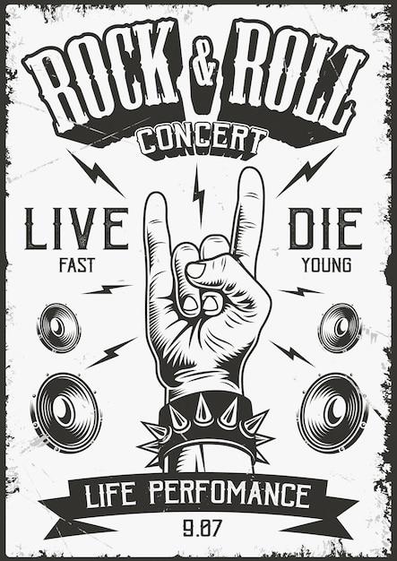 Cartaz do rock and roll Vetor grátis