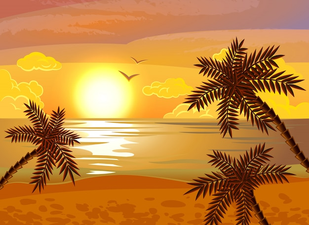 Cartaz do sol praia tropical Vetor grátis
