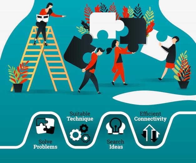 Cartaz do trabalho em equipe e liderança Vetor Premium