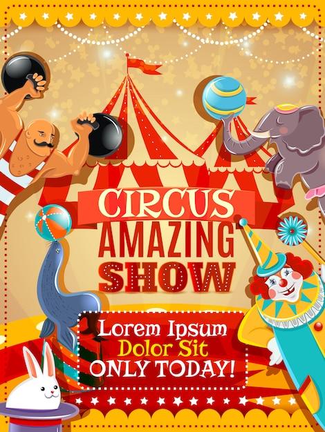 Cartaz do vintage do anúncio do desempenho de circo Vetor grátis