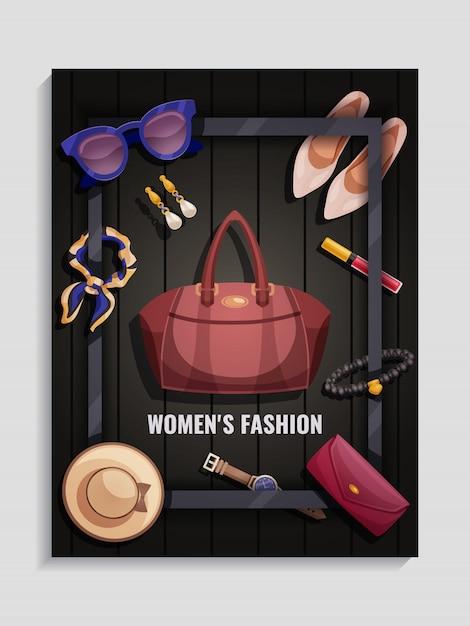 Cartaz dos acessórios das mulheres Vetor grátis