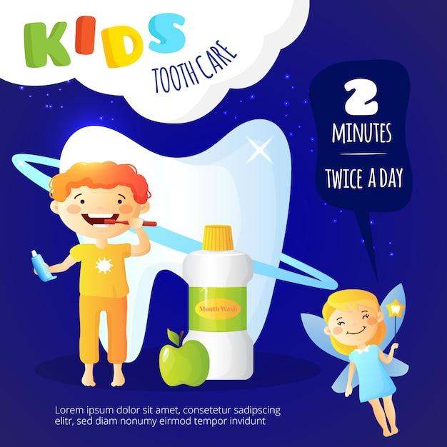 Cartaz dos cuidados dentários das crianças Vetor grátis