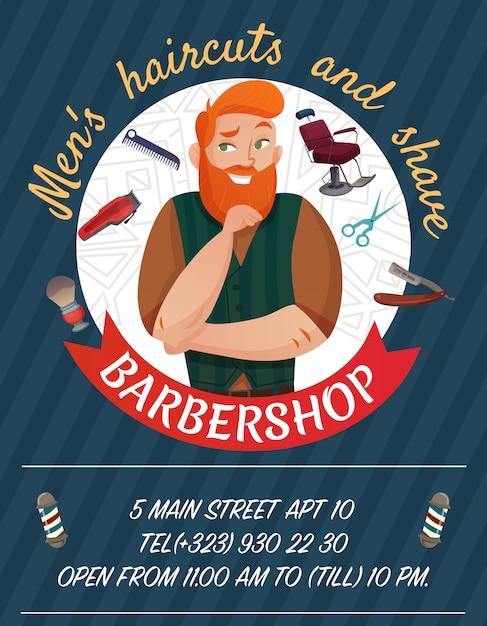Cartaz dos desenhos animados da barbearia Vetor grátis