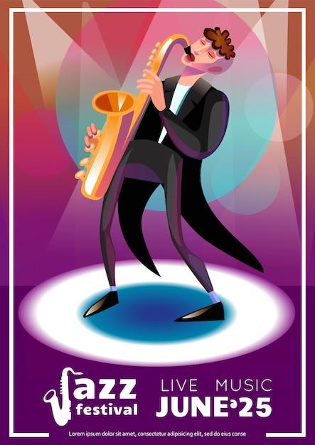 Cartaz dos desenhos animados do festival de jazz Vetor grátis