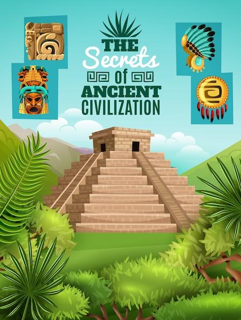 Cartaz dos desenhos animados do maya Vetor grátis