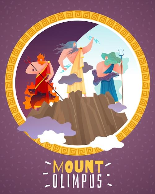 Cartaz dos desenhos animados do monte olimpus Vetor grátis