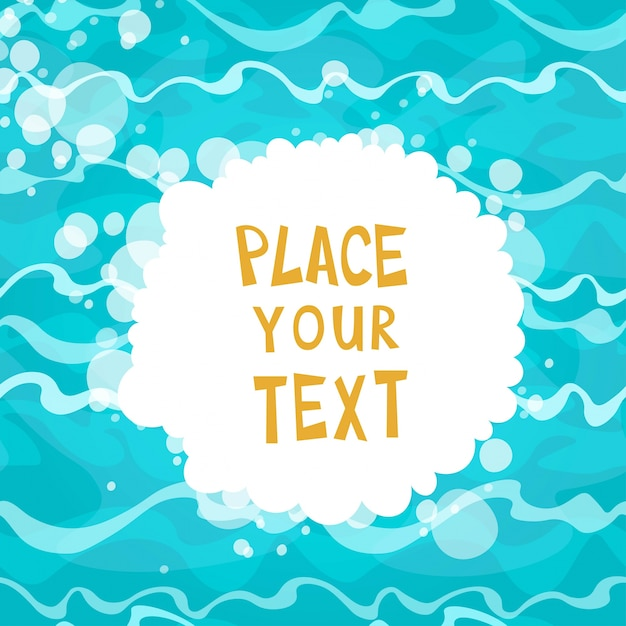 Cartaz dos desenhos animados no fundo da água azul brilhante com ilustração ondas vector Vetor grátis