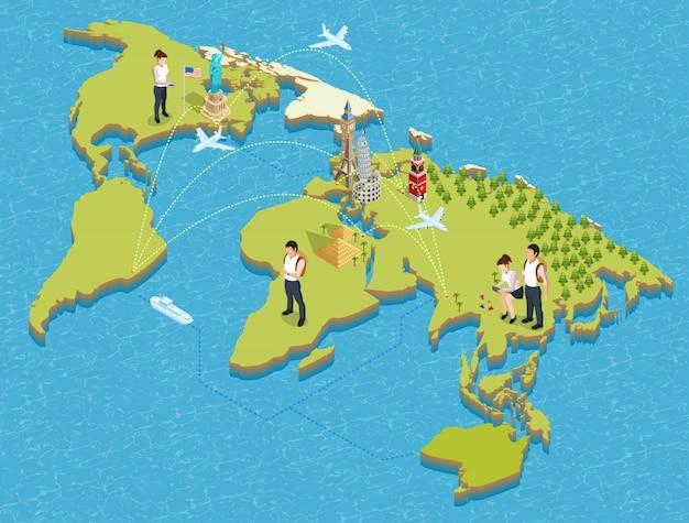 Cartaz dos turistas e dos marcos Vetor grátis