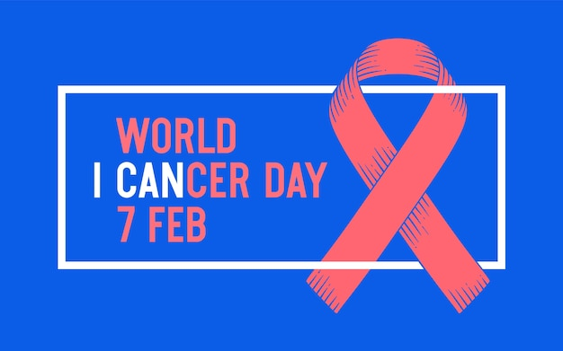 Cartaz e banner com texto dia mundial do câncer, 4 de fevereiro e fita - símbolo do dia mundial do câncer. banner para o febrauray 4, símbolo de conscientização do dia mundial do câncer. gráfico clássico. Vetor Premium