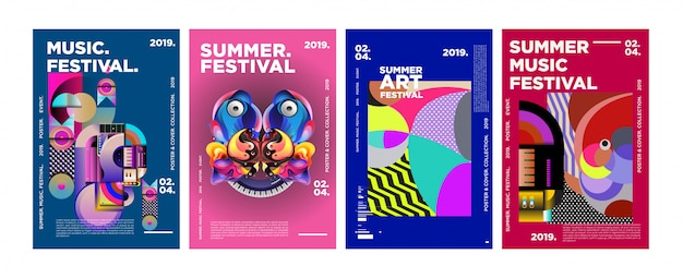 Cartaz e capa coloridos do festival da música e da música do verão Vetor Premium