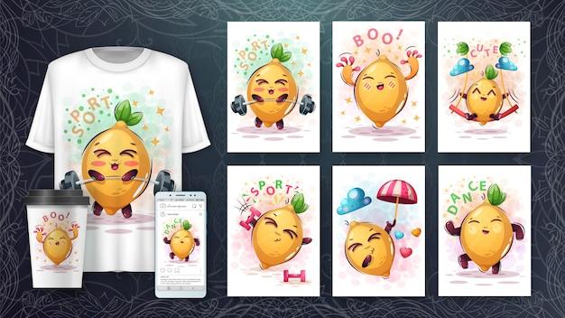 Cartaz e merchandising de limão doce Vetor Premium