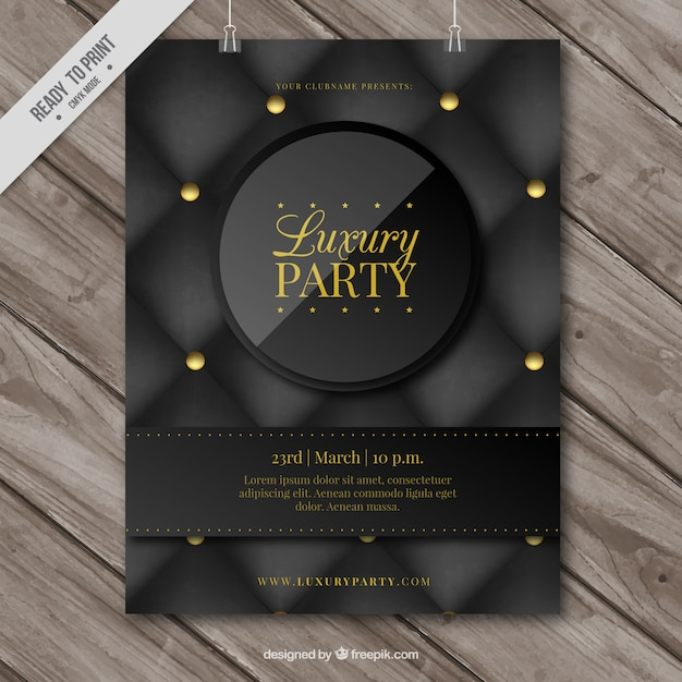 cartaz elegante da festa de luxo Vetor grátis
