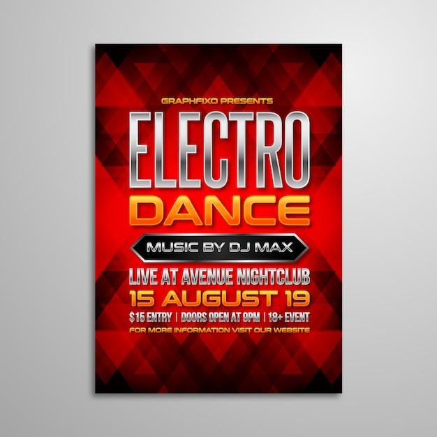 Cartaz eletrônico da música do dance party Vetor Premium