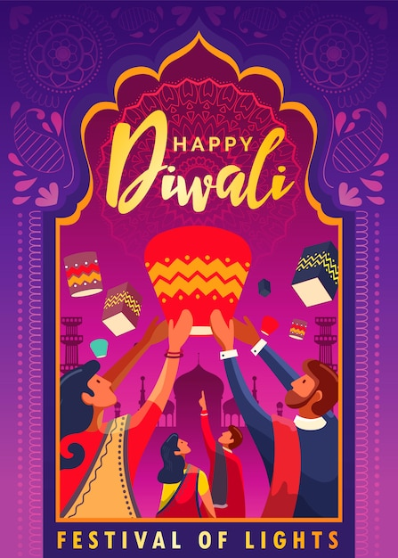 Cartaz feliz do festival de diwali das luzes Vetor Premium