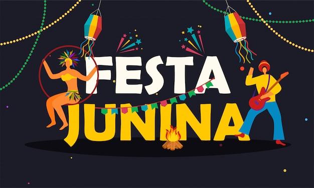 Cartaz festa junina Vetor Premium