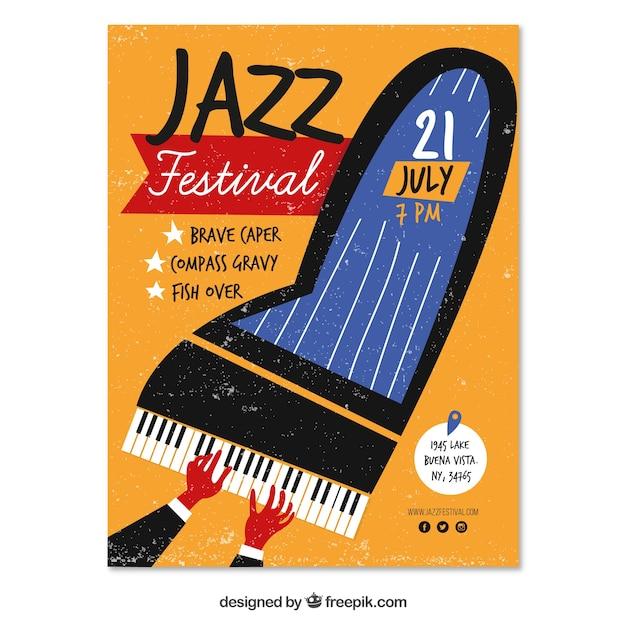 Cartaz festival de jazz com piano desenhado a mão Vetor grátis