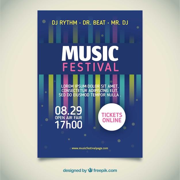 Cartaz festival de música com instrumentos em estilo simples Vetor grátis