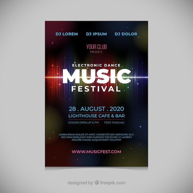 Cartaz festival de música em estilo abstrato Vetor grátis