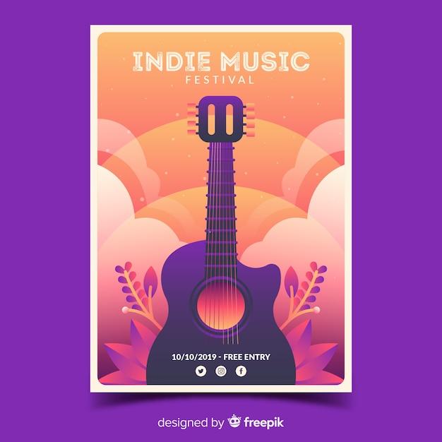 Cartaz festival indie com ilustração gradiente Vetor grátis