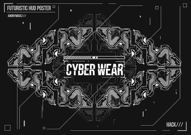 Cartaz futurista de cyberpunk. modelo de cartaz futurista retrô. layout de música eletrônica. Vetor Premium