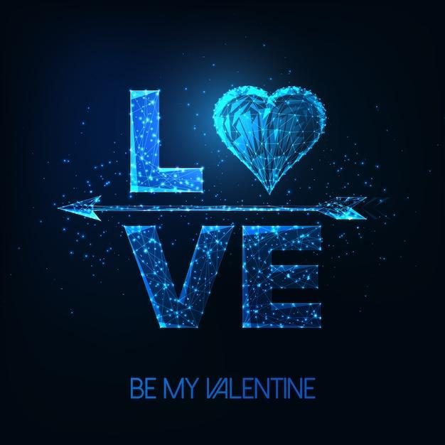 Cartaz futurista de dia dos namorados com brilhante palavra baixa poligonal amor, símbolo do coração e flecha de cupido Vetor Premium