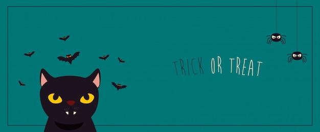 Cartaz halloween com gato preto e morcegos voando Vetor grátis