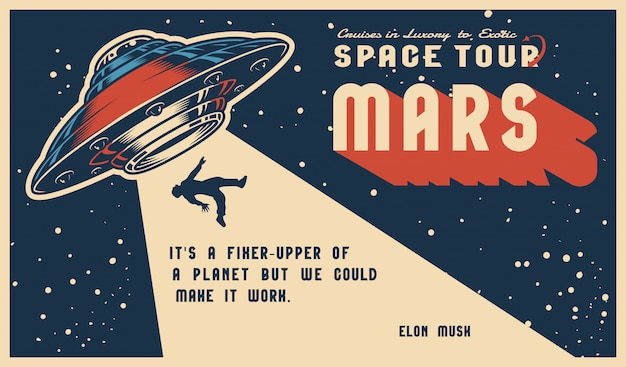 Cartaz horizontal colorido vintage de espaço Vetor Premium