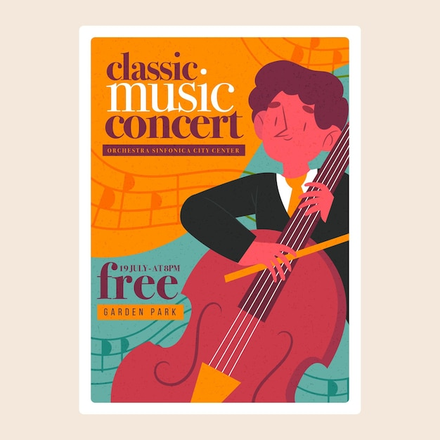 Cartaz ilustrado do festival de música clássica Vetor grátis