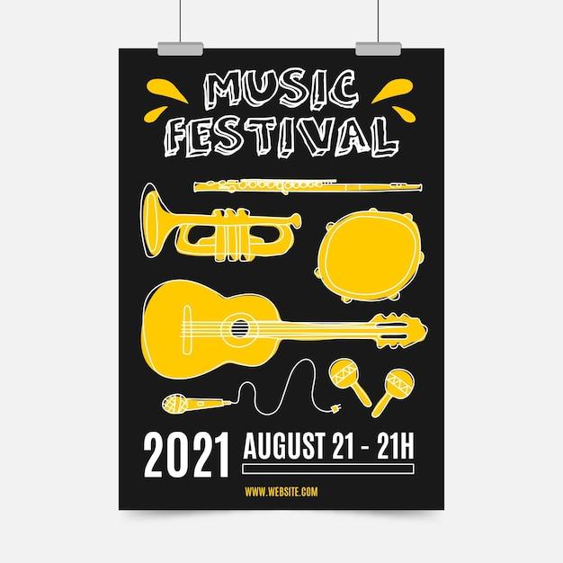 Cartaz ilustrado do festival de música Vetor grátis