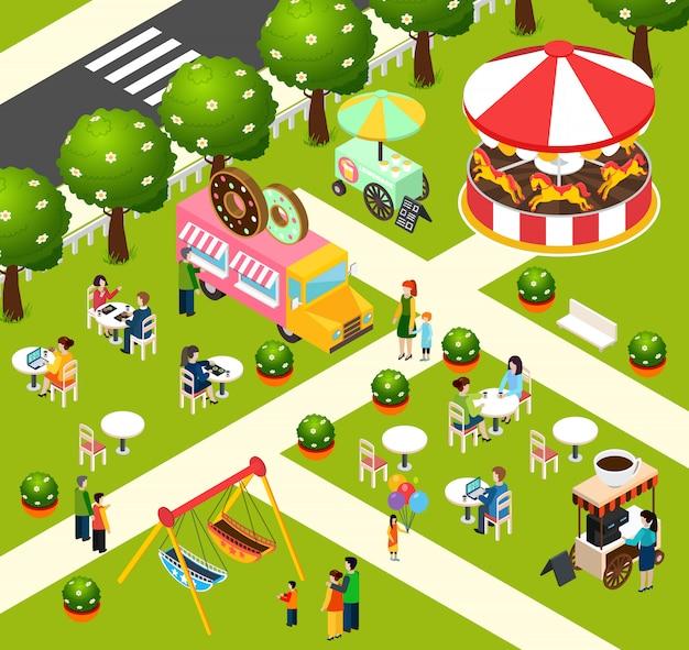 Cartaz isométrico da composição do caminhão do alimento da rua Vetor grátis