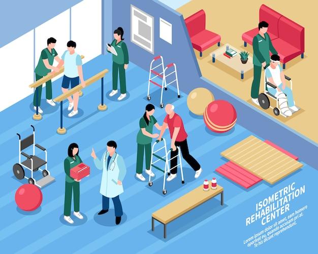 Cartaz isométrico das enfermeiras do centro de reabilitação Vetor grátis