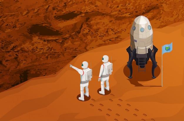 Cartaz isométrico de exploração de marte com dois astronautas perto da nave espacial chegou no planeta vermelho Vetor grátis