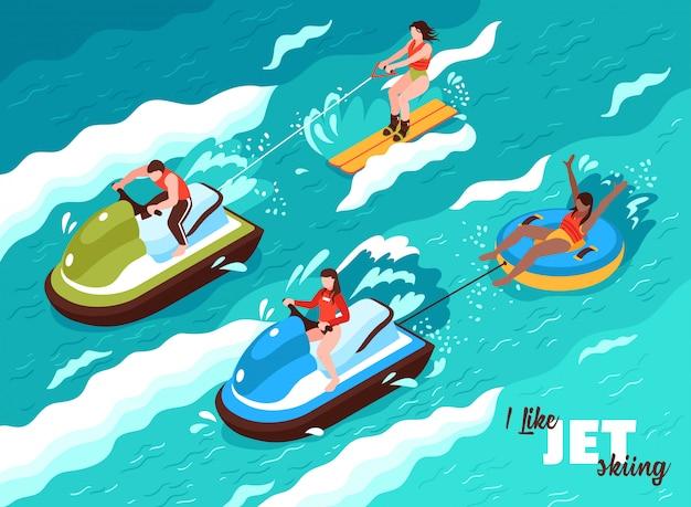 Cartaz isométrico de verão água esporte nas ondas do mar com pessoas envolvidas em jet ski Vetor grátis