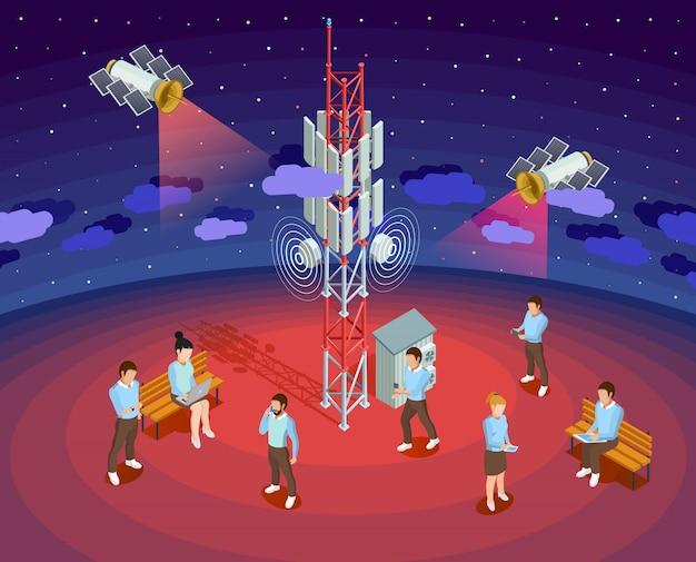 Cartaz isométrico dos satélites públicos da tecnologia sem fio Vetor grátis