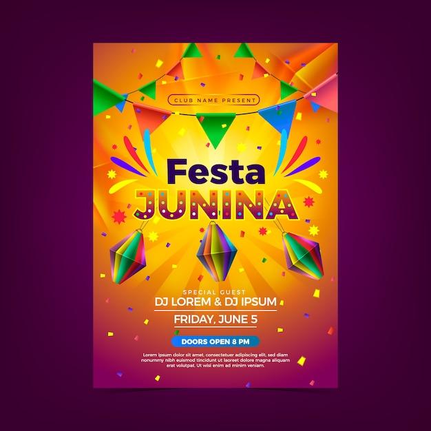 Cartaz junina festa realista Vetor grátis