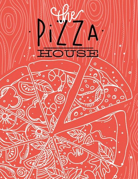 Cartaz lettering a casa de pizza, desenho com linhas cinzas em fundo coral Vetor Premium