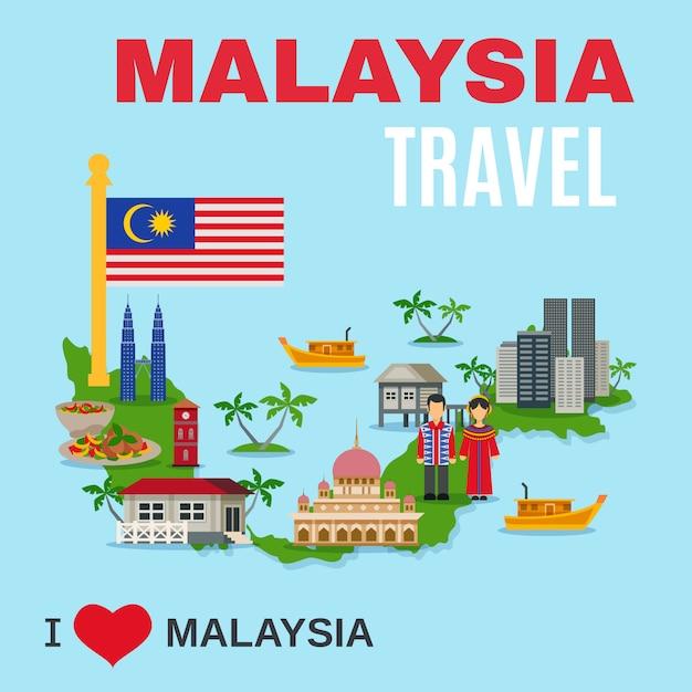 Cartaz liso da agência de viagens da cultura de malaysia Vetor grátis