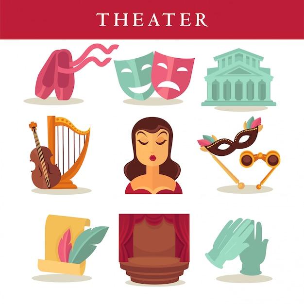 Cartaz liso do teatro de equipamentos simbólicos no branco. Vetor Premium